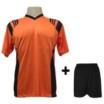 236a9ab26f Uniforme Esportivo com 18 camisas modelo Roma Laranja Preto + 18 calções  modelo Madrid + 1 Goleiro + Brindes