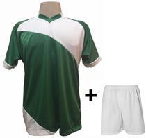 2dd99c38a5 Uniforme Esportivo com 20 camisas modelo Bélgica Verde Branco + 20 calções  modelo Madrid + 1 Goleiro + Brindes