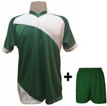 4b787a34f0 Uniforme Esportivo com 20 Camisas modelo Bélgica Verde Branco + 20 Calções  modelo Madrid Verde
