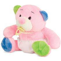 Ursinho de Pelúcia Rosa com Fraldinha 23 cm Antialérgico - Ctx