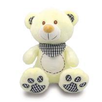 Urso de Pelúcia com Babador Xadrez  35cm - Preto - Unik Toys -