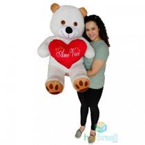 Urso de Pelúcia Gigante 1 Metro com almofada de coração Amo Você - Has Brasil