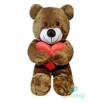 Urso de Pelucia Gigante Apaixonado Marrom com almofada de coração 1 metro - Has Brasil