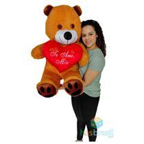 Urso de Pelucia Gigante Caramelo 1 Metro e Almofada de Coração Te Amo Mãe Presente dia Das Mães - Has Brasil