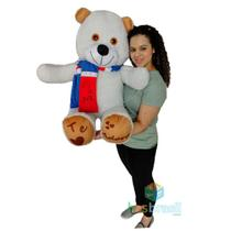 Urso de Pelucia Gigante com Cachecol e Patinhas Te adoro Branco 1 Metro - Has Brasil
