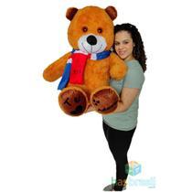 Urso de Pelucia Gigante com Cachecol e Patinhas Te adoro Caramelo 1 Metro - Has Brasil