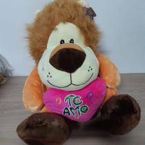 Urso De Pelúcia Gigante Leão Grande+coração Te Amo Rosa Pink Presente - Emporio Magazine