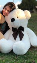 Urso De Pelúcia Gigante Teddy - 90cm com Laço - Barros Baby -