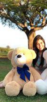 Urso De Pelúcia Gigante Teddy - 90cm Doce de Leite com Laço Azul - Barros Baby -