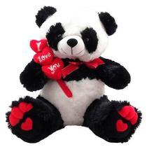 Urso De Pelúcia Panda I love You 3 corações - Fizzy