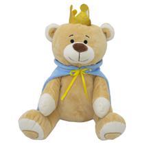 Urso de pelucia principe com  capa e coroa - Bbr toys