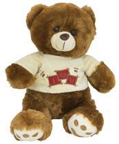 Urso de pelúcia sentado com blusa super fofo nas cores Marrom e Bege BBR TOYS -