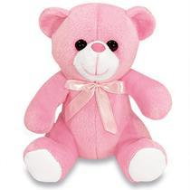 Urso Feliz de Pelúcia Mini Rosa 15 cm - Mirante Brasil
