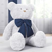 Urso Gigante Branco com Laço Azul Marinho 1m Grão de Gente -
