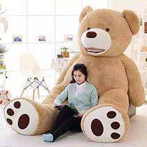 Urso Gigante de Pelucia Teddy Bear - 2 Metros (200cm) Cheio Bege Bordado - Ursos E Pelúcias