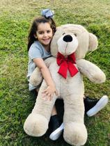 Urso Gigante Grande Teddy Bear Pelúcia 90 Cm - Nacional - LuckBaby - Avelã com Laço Vermelho -