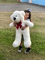 Urso Gigante Grande Teddy Bear Pelúcia 90 Cm - Nacional - LuckBaby - Baunilha com Laço Vermelho -