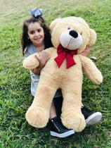 Urso Gigante Grande Teddy Bear Pelúcia 90 Cm - Nacional - LuckBaby - Doce de Leite com Laço Vermelho -