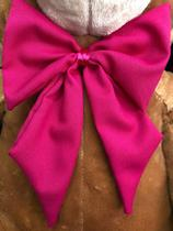 Urso Gigante Pelúcia Grande Teddy 1.10 Cm - Mel com Laço Pink Luckbaby - LUCK BABY