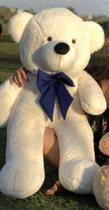 Urso Gigante Pelúcia Grande Teddy 1,10 Metros - Baunilha com Laço Azul - Larissa Confecções