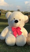 Urso Gigante Pelúcia Grande Teddy 1,10 Metros - Baunilha com Laço Pink - Doce mel bebe