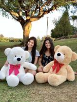 Urso Gigante Pelúcia Grande Teddy 1,10 Metros - Baunilha com Laço Pink - Larissa Confeccões