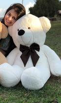 Urso Gigante Pelúcia Grande Teddy 1,10 Metros - Baunilha com Laço Tabaco - Doce mel bebe
