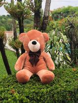 Urso Gigante Pelúcia Grande Teddy 1,10 Metros - Mel com Laço Tabaco - Doce mel bebe