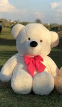 Urso Gigante Pelúcia Grande Teddy 90 Cm -  Baunilha com Laço Pink - Larissa Confecções