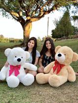 Urso Gigante Pelúcia Grande Teddy 90 Cm -  Baunilha com Laço Vermelho - Larissa confeccões
