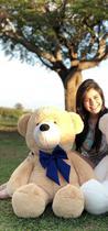 Urso Gigante Pelúcia Grande Teddy 90 Cm - Doce de Leite com Laço Azul - Luckbaby