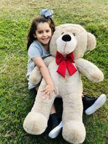 Urso Gigante Pelúcia Grande Teddy 90 Cm - Doce Mel Bebe - Avelã com Laço Vermelho -
