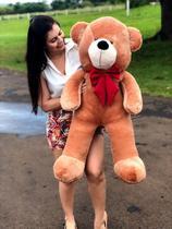 Urso Gigante Pelúcia Grande Teddy 90 Cm - Mel com Laço Vermelho Luckbaby - LUCK BABY