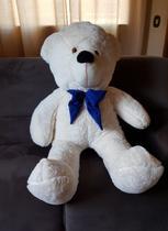 Urso Gigante Teddy Pelúcia 110cm Branco Gravata Azul - Magnababy