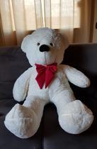 Urso Gigante Teddy Pelúcia 110cm Branco Gravata Vermelha - Magnababy