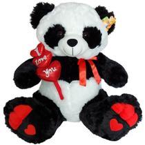 Urso Panda de Pelúcia Gigante 3 corações I Love You - Fizzy