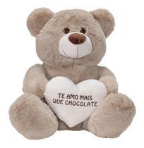 Urso Pelúcia Gigante Presente Crianças Antialérgico 80cm.Cor Areia. - W.U Bichos E Pelúcias