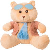 Urso Soft Gigante Aviador Casaco Plush Cachecol e Óculos Azul - Mury baby