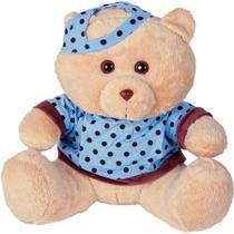 Urso Soft Gigante Camiseta e Boné Bolinhas Azul e Marrom - Mury baby