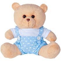 Urso Soft Gigante Jardineira Bolinhas Azul e Branco - Mury baby