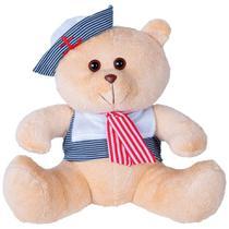 Urso Soft Gigante Marinheiro Marinho e Vermelho com Chapéu Âncora - Mury baby