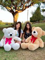 Urso Teddy Gigante Branco com Gravata Rosa 110cm - Magnababy
