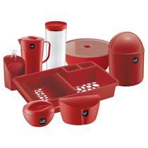 Utensilios Cozinha Uz Kit 8 Pcs Vermelho Completo - OU