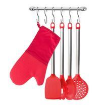 Utensílios de Cozinha e Suporte Inox Luva Silicone Vermelho - Arthi