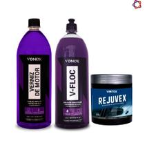 V Floc 1,5l  Shampoo Concentrado Vonixx + Verniz de motor + Rejuvex  Vintex -