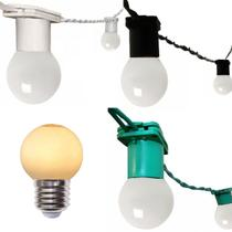 Varal Cordão De Luzes Gambiarra de lampadas Rede Fio de luz 30 Metros Com Lampadas Led 2,5W - Jdk Iluminação