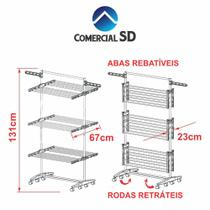 Varal de chão para roupas retrátil em alumínio 3 andares - Varal Sd