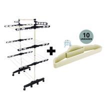 Varal De Chão Vertical Com Rodinhas 3 Andares + Kit 10 Cabides Slim Bege - Signal