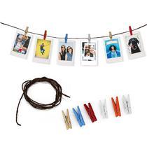 Varal de Fotos Decorativo c/  6 Prendedores Cordão 1.20 mt - Tudoprafoto