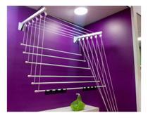 Varal de parede/teto prático - aço - branco - 1,4m secalux -